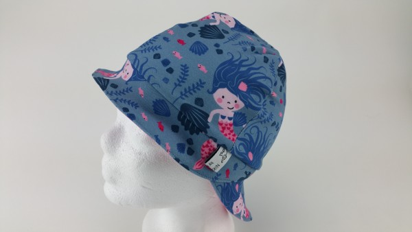 Sommerhut Sonnenhut Jersey Meerjungfrau blau rosa