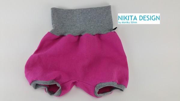 kurze Pumphose aus Leinen in pink-grau