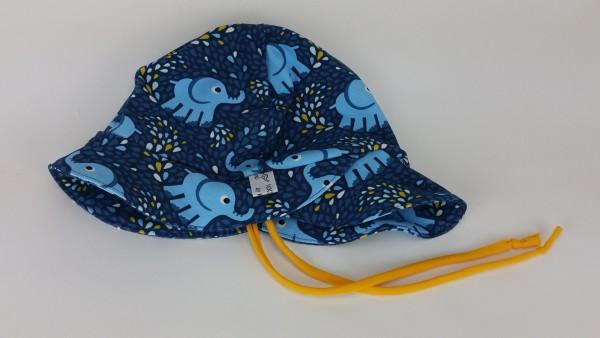 Sommerhut Sonnenhut Jersey Elefanten Kinder blau gelb