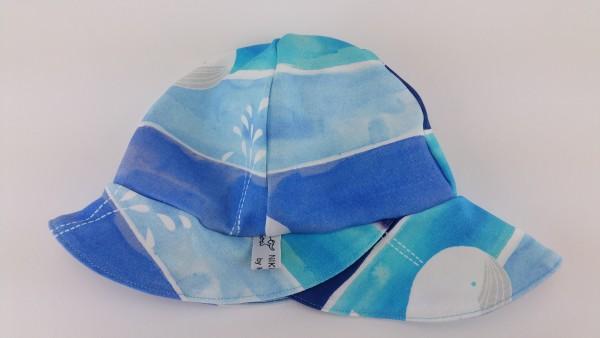 Sommerhut Sonnenhut Jersey Wal Blockstreifen blau türkis