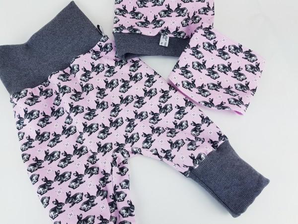 """Pumphose aus Jersey """" Hasen / Kaninchen """" rosa grau"""
