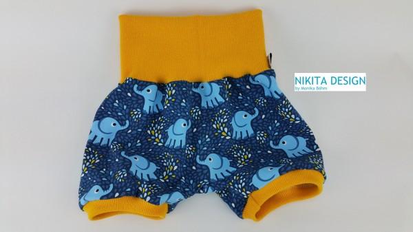 kurze Pumphose aus Jersey kleine Elefanten blau gelb weiß