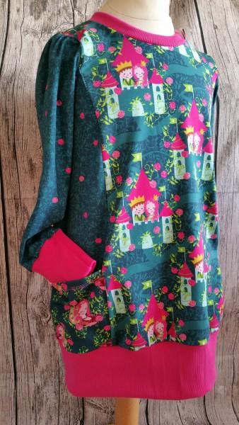 wunderschönes Dornröschen - Kleid / Longhirt petrol - pink Gr. 122 - 128