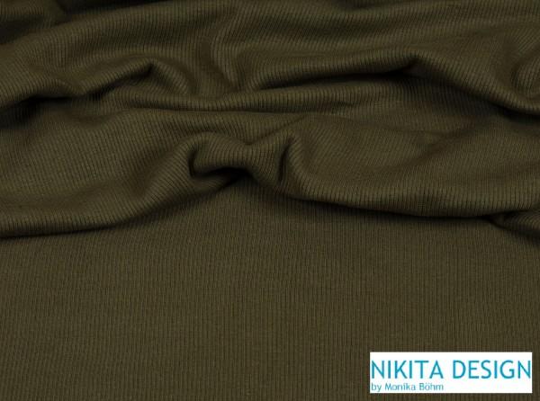 Bündchen uni khaki / oliv grün (128)