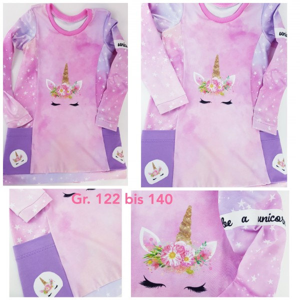 wunderschönes Einhorn - Kleid rosa-flieder Gr. 122 - 140